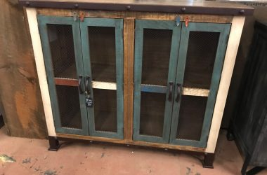 4 door multicolored console with steel wrapped top and chicken wire doors