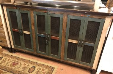 6 door multicolored console with steel wrapped top and chicken wire doors