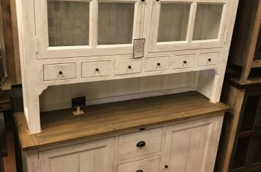 Large buffet/hutch - Antique white/Rustic natural grey color