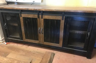 distressed black barn door tv stand/console
