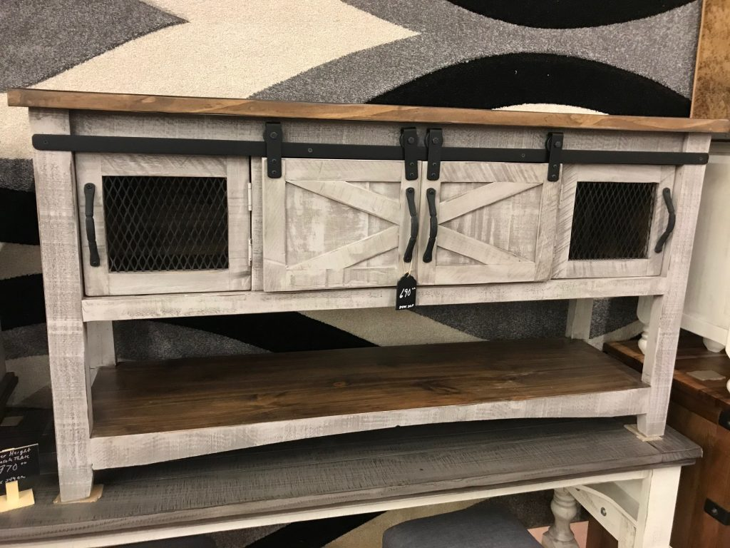 Barn door sofa table