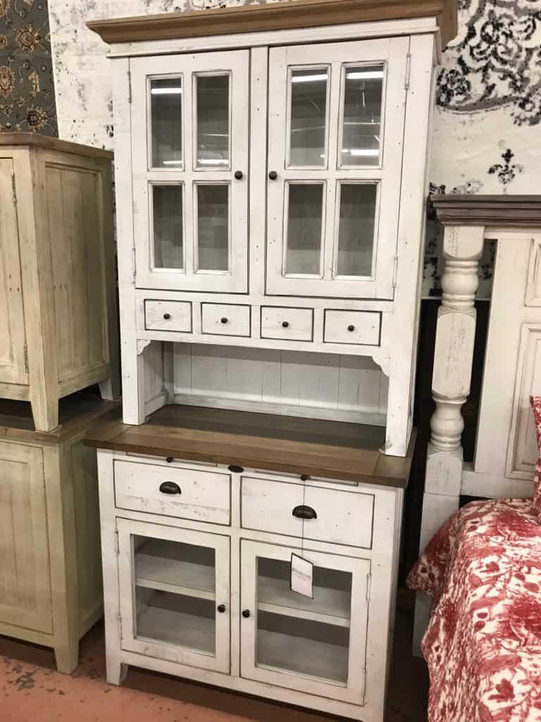 Small Buffet/hutch - rustic natural grey/linen w/glass doors