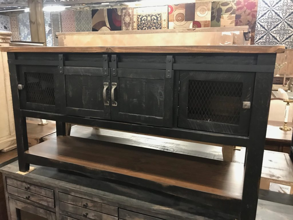 Distressed black barn door sofa table