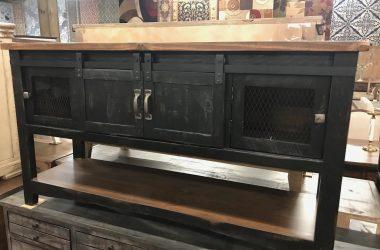 Distressed black barn door sofa table
