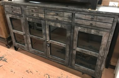 Console w/4 glass doors and 4 drawers