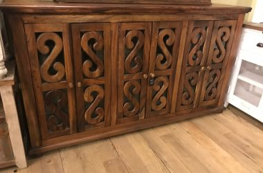 Large console w/decorative glass doors