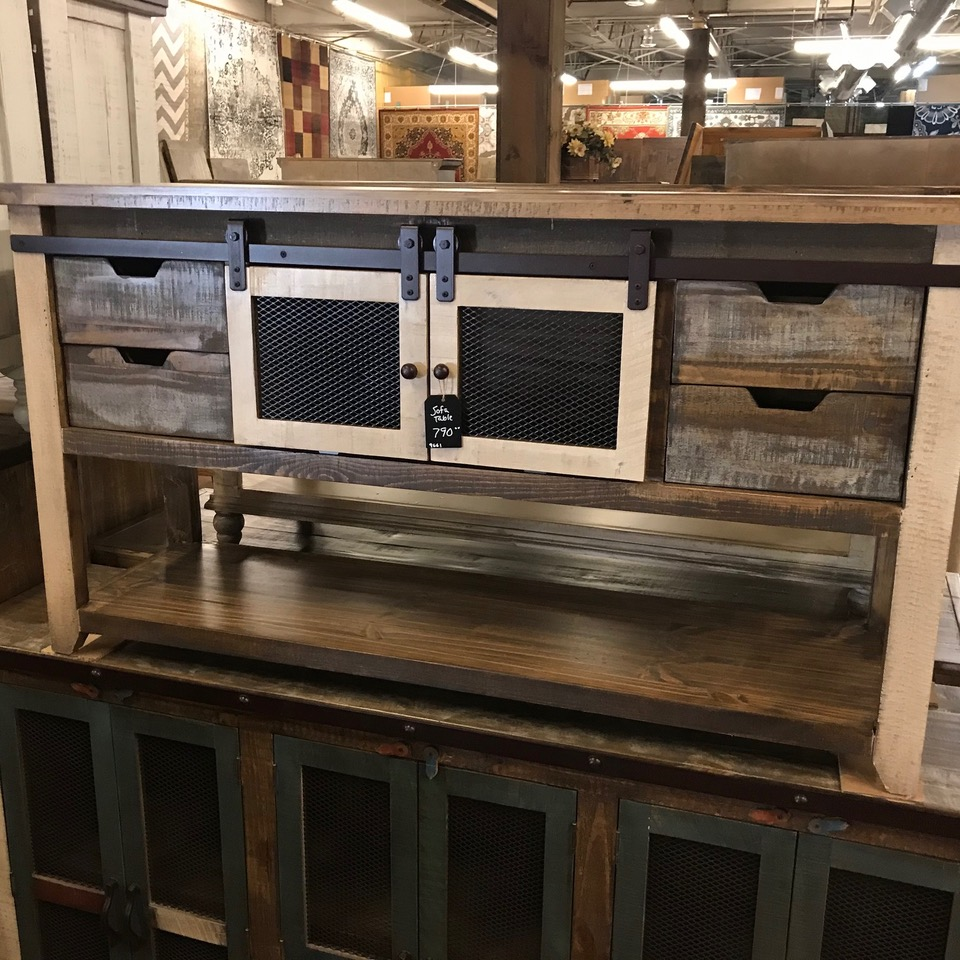 Multicolored sofa table w/4 drawers and sliding barn doors