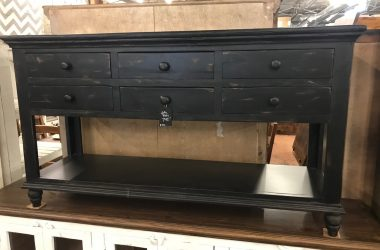 distressed black sofa table with 6 drawers