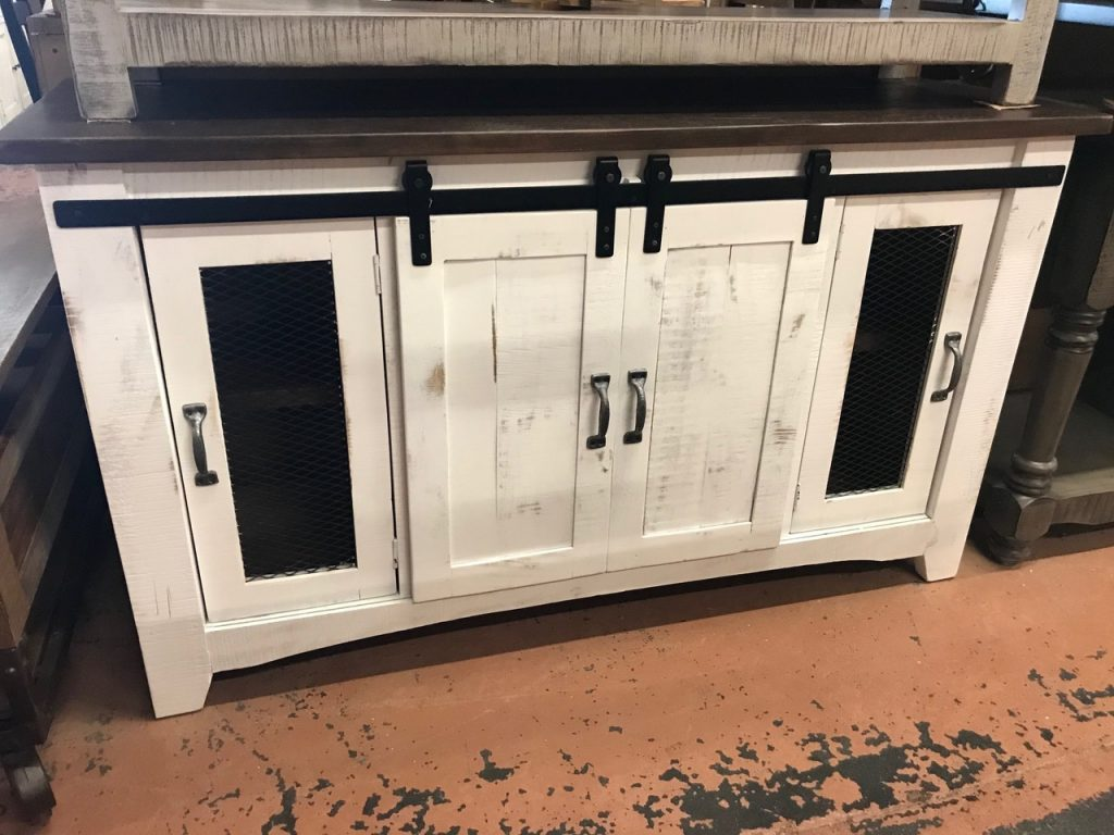 distressed white tv stand/buffet, w/sliding barn doors
