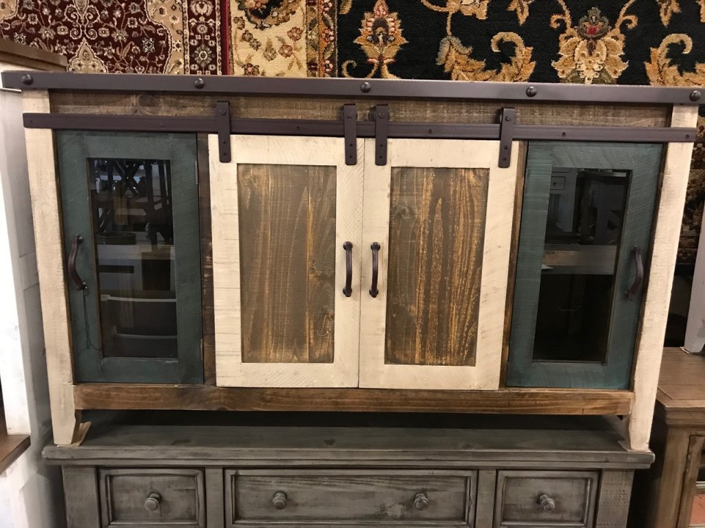 multicolored tv stand/buffet, w/sliding barn doors, steel wrapped top and glass doors