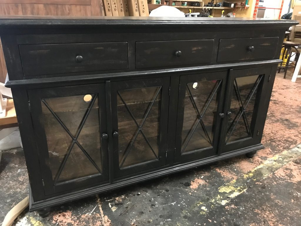 Distressed-black-console-4-glass-doors-3-drawers
